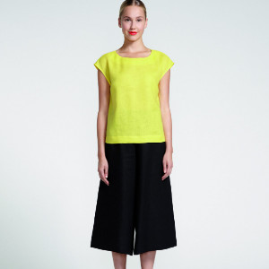 Marimekko Yellow Siska Straight Cut Linen Top - 36 - Yellow