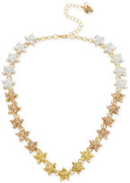 Betsey Johnson Gold-Tone Ombré Glitter Star Collar Necklace