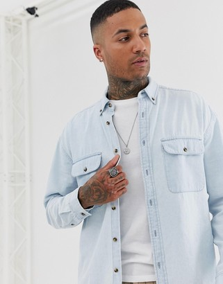 Asos Design DESIGN oversized denim shirt with double pockets in light wash