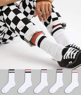 Asos Design Sports Style Socks With Collegiate Colour Stripes 5 Pack