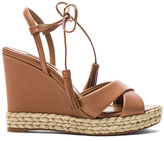 Aquazzura Leather Paraty Espadrille Wedges in Brown.