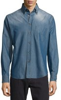 Brioni Button-Front Chambray Dress Shirt, Blue Solid