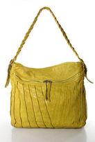 Treesje Yellow Leather Pleat Detail Tote Shoulder Handbag Size Large