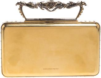 Alexander McQueen Gold Tone Metal Small Jewelled Case