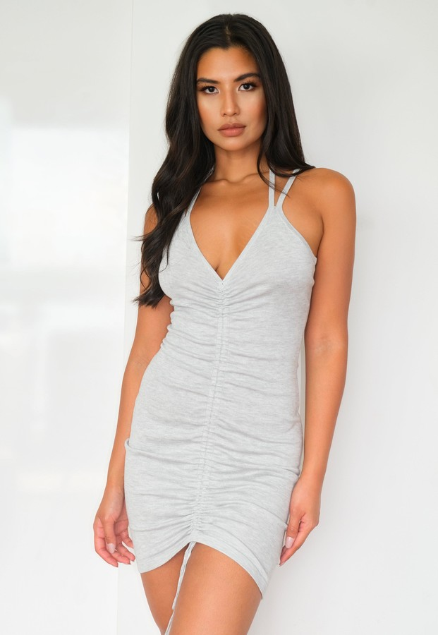 Missguided Grey Ruched Front Knit Mini Dress