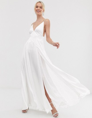 Asos Edition EDITION double split front cami wedding dress-White