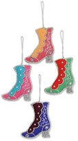 Novica Decorative Christmas Beaded Hanging Holiday Ornament, Multicolor Silver Tone, 'Colorful Boots' (Set of 4)