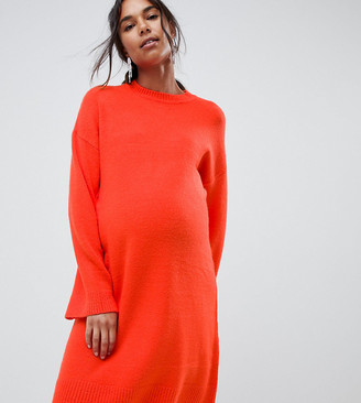 Asos DESIGN Maternity knitted mini dress in fluffy yarn-Red