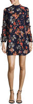 City Triangle Long Sleeve Floral A-Line Dress-Juniors
