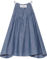 Apiece Apart Galisteo Smocked Cotton-chambray Top - Blue