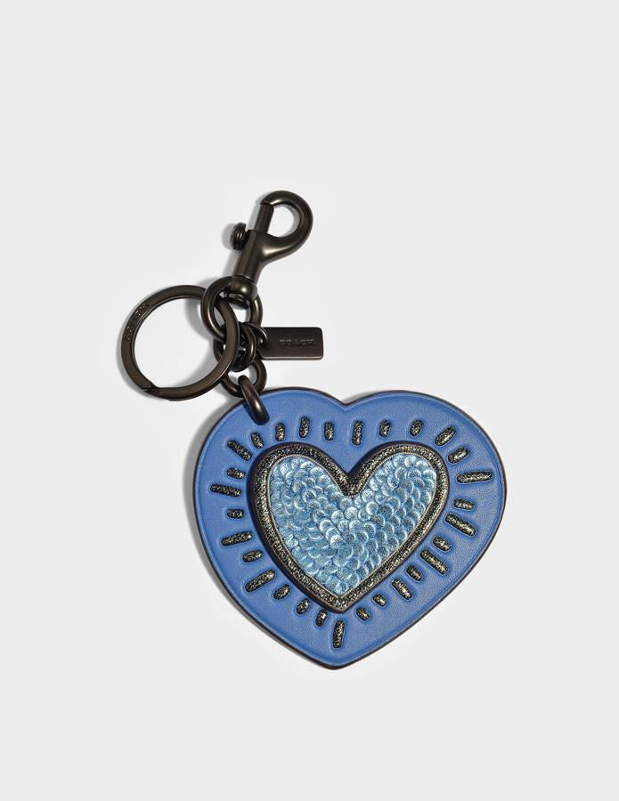 Coach Keith Haring Heart Charm Bag in Sky Blue Calfskin