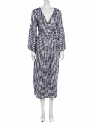 Mother of Pearl Plaid Print Long Dress w/ Tags Blue