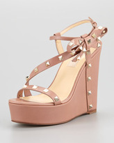 Valentino Rockstud Bow Wedge Platform Sandal, Soft Noisette