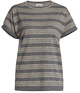 Brunello Cucinelli Women's Lurex Stripe Virgin Wool & Cashmere Tee