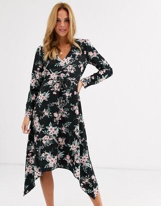 Miss Selfridge midi dress with v neck in black floral