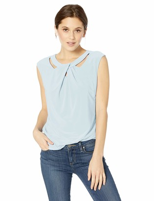 Kasper Women's Plus Size Short Sleeve Criss Cross Neck Knit