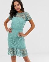 Paper Dolls crochet lace dress with peplum hem