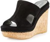 Stuart Weitzman Ponte Suede Wedge Slide Sandal
