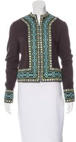 Tory Burch Embellished Silk Blend Jacket