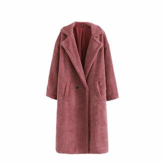 NKJGFV Teddy Faux Fur Coat Long Red White Pink Fur Jacket Vintage Fur Collar Winter Outwear