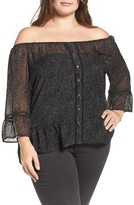 Democracy Plus Size Women's Flounce Sleeve Off The Shoulder Top