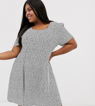 Glamorous Curve smock dress in spot print-Cream