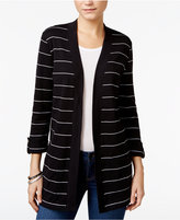 Karen Scott Striped Open-Front Cardigan, Only at Macy's