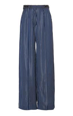 Rokh Striped Georgette Wide-Leg Pants
