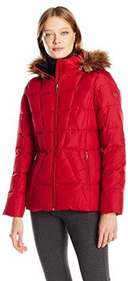 Calvin Klein Women's Down Puffer Short Coat with Faux Fur Trimmed Hood