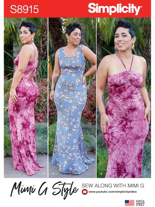 Simplicity Women's Mimi G Style Fitted Maxi Dress Sewing Pattern, 8915