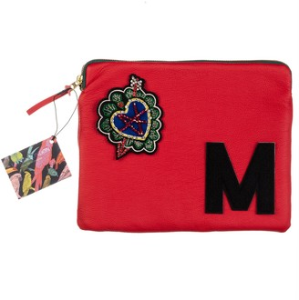 Laines London Embellished Arrow Heart Personalised Classic Leather Clutch Bag - Large - Red / Black