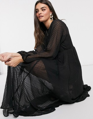 ASOS DESIGN textured mesh trapeze midi dress with bubble sleeves in black