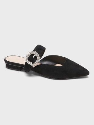 Banana Republic Suede Pointy-Toe Flat with Crystal Buckle