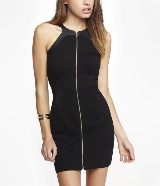 Express Zip Front Mesh Back Sheath Dress
