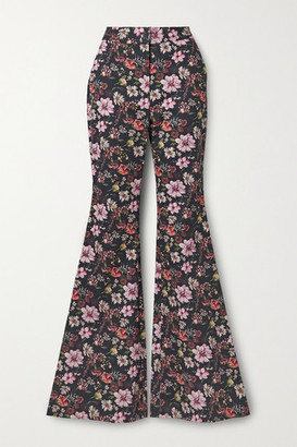 Adam Lippes Floral-print Cotton-twill Flared Pants - Black
