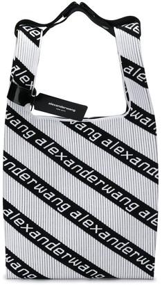 Alexander Wang logo stripe shopper tote