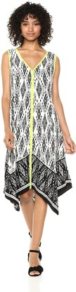 Jones New York Women's V Neck Border Print Handkerchief Dress