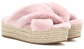 Miu Miu Fur Platform Espadrille Sandals
