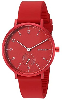 Skagen Aaren Kulor 36mm Three-Hand Silicone Watch (SKW2765 Red Silicone) Watches