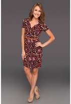 Anne Klein Petite - Petite Abstract Floral Print Dress (Amethyst Multi) - Apparel