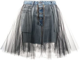 Unravel Project Tulle Denim Skirt