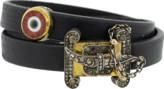 Sevan Biçakci Double Wrap Evil Eye Black Leather Bracelet