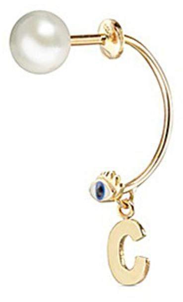 Delfina Delettrez 'ABC Micro Eye Piercing' freshwater pearl 18k yellow gold single earring - C