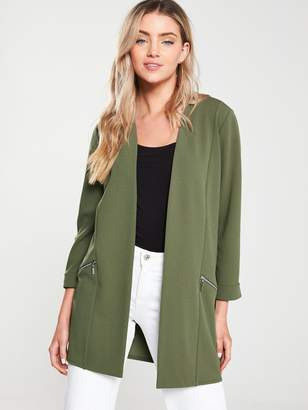 Wallis Zip Pocket Longline Blazer - Khaki