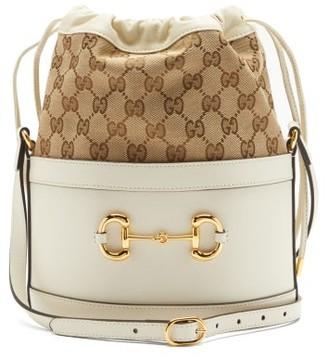Gucci Horsebit 1955 Gg-supreme Leather Bucket Bag - White Multi