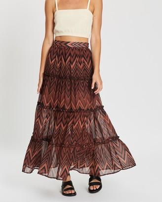 Charlie Holiday Baye Tiered Maxi Skirt