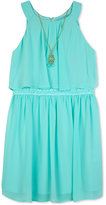 Amy Byer Crochet Popover Dress & Necklace Set, Big Girls (7-16)