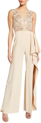 ZUHAIR MURAD Soledad Sequined Ruffle-Side Jumpsuit