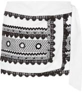Dodo Bar Or - Embellished Embroidered Cotton-gauze Wrap Mini Skirt - White