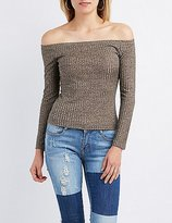 Charlotte Russe Ribbed Off-The-Shoulder Top